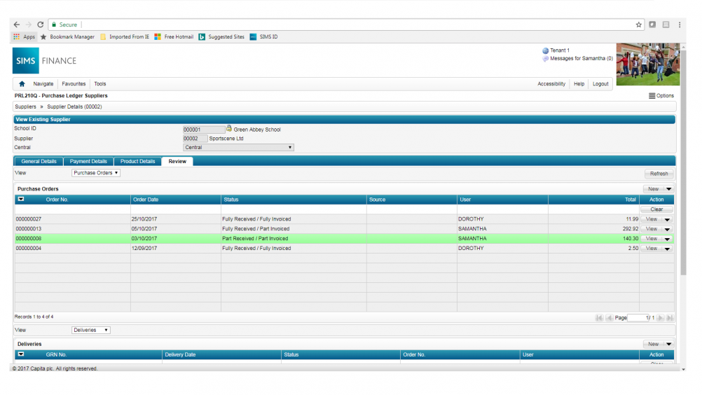 Screenshot of school budget planning on SIMS academy finance software.
